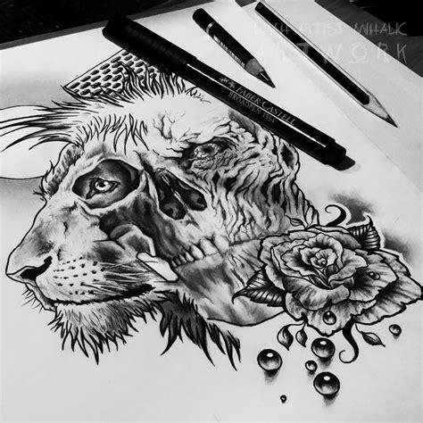 lion skull rose pearls moon tattoo design wip  cleicha  deviantart