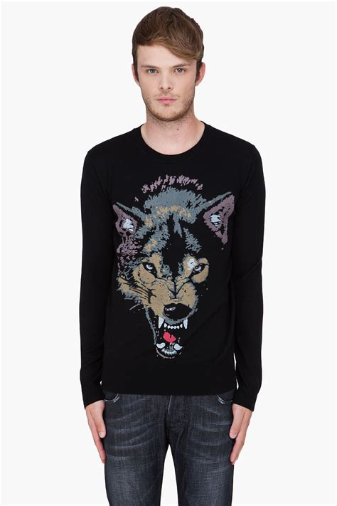 wolf sweater lyst markus lupfer black wolf print sweater in black for