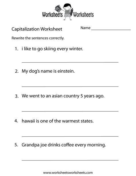 middle school capitalization worksheet  printable