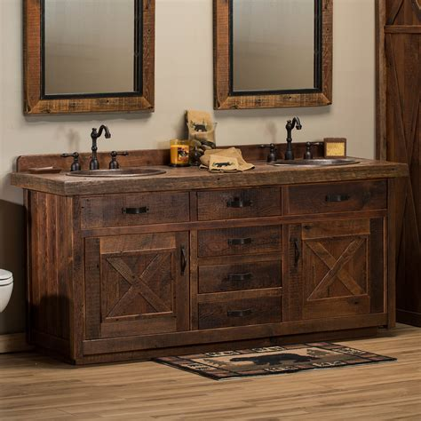 Bathroom With Rustic Vanity Design Ideas — Cabinets, Beds