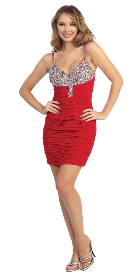 red ruched form fitting dress short prom dresses
