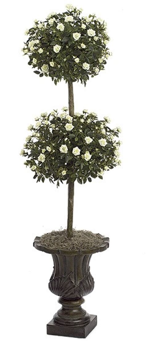 Artificial Topiary Trees, Flower Topiary, 4 Feet Mini Rose