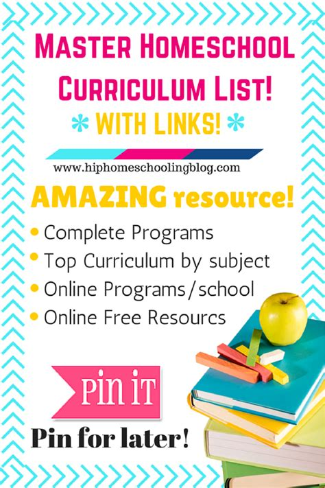 master homeschool curriculum list with links 389 | masterlist