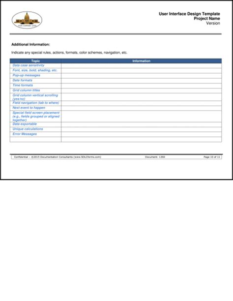User Interface Design Document Template by Sdlcforms User Interface Design Template