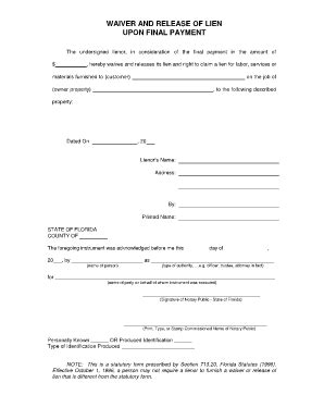 notarized medical release form waiver of lien labor and materials fill online
