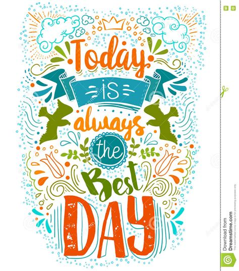 Today Is The Best Day Doodle Typography Stock Vector