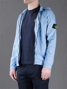 Light Blue Cotton T Shirt Lyst Stone Island Hooded Overshirt In Blue For Men