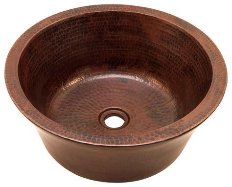 Round Double Wall Vessel Bathroom Copper Sink-rustic