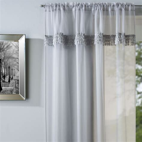 Savannah   Voile Curtain Panel   Silver   Slot Top   Grey