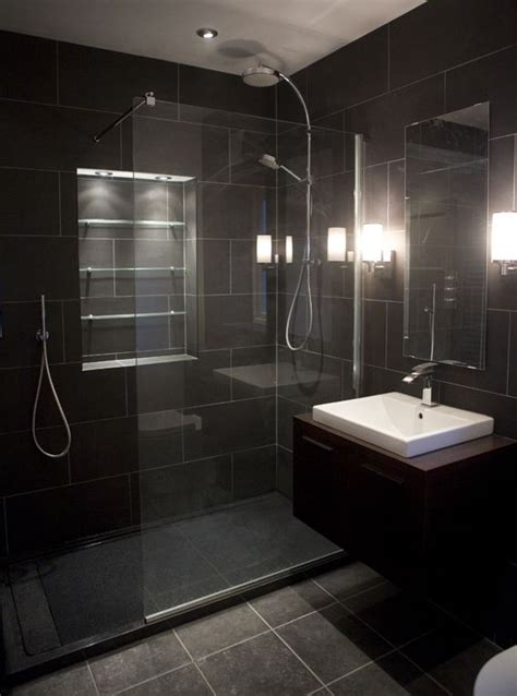 17 Best Ideas About Black Tile Bathrooms On Pinterest