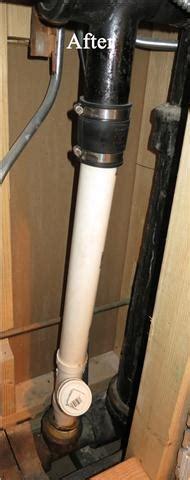 repair  broken cast iron vent pipe