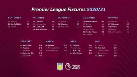 Full fixture list 2020/21 : avfc