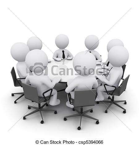 3d man at business meeting. 3d men sitting at a round