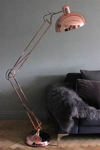 copper angled floor lamp grey faux fur throw floor lamp With hector angled floor lamp in copper