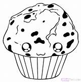 Muffin Blueberry Draw Step Drawing Coloring Pages Food Getdrawings Hellokids sketch template