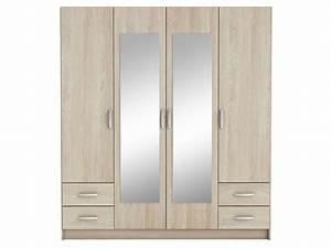 Armoire 4 Portes : armoire 4 portes 4 tiroirs pop coloris ch ne shannon vente de armoire conforama ~ Teatrodelosmanantiales.com Idées de Décoration
