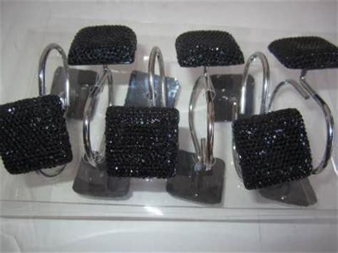 rhinestone bathroom accessories sets black rhinestone shower curtain hooks bling bath accessory