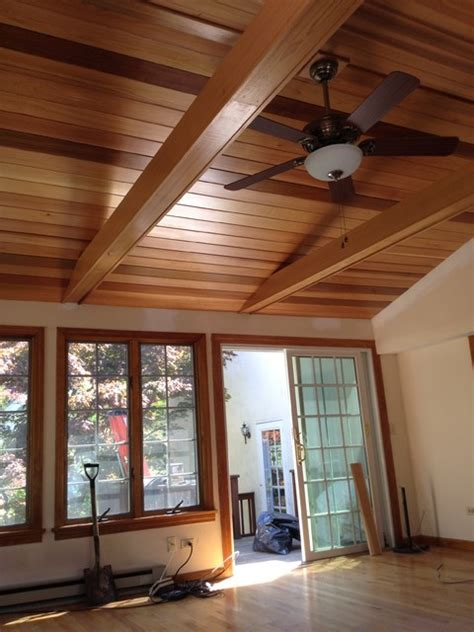 cedar ceiling traditional family room boston