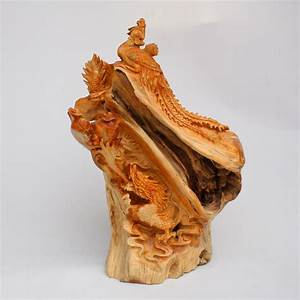 Chinese Thuja Sutchuenensis Wood Dragon Phoenix Statue