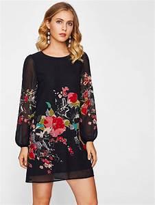 robe imprime fleur avec manche lanterne french romwe With robe imprimée fleurs