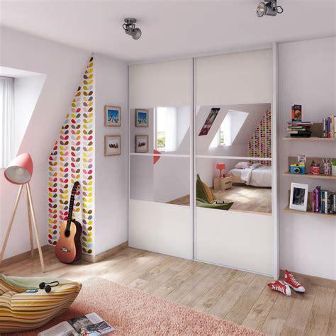 porte de chambre coulissante chambre ado lumineuse ideedeco portemiroir