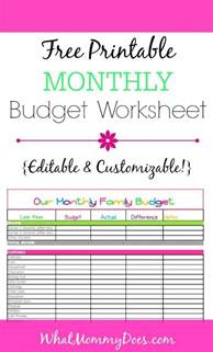 cute monthly budget printable  editable template