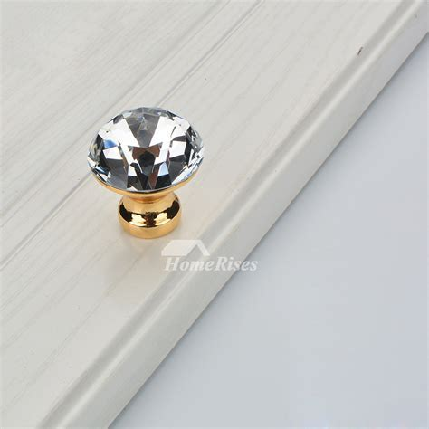Crystal Door Knobs Silver/Gold/Black Drawer Cabinet Closet