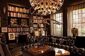 Interior, Inspiring, Home, Library, Shelves, Ideas, Dark, Accent, Luxury, Home, Office, Ideas