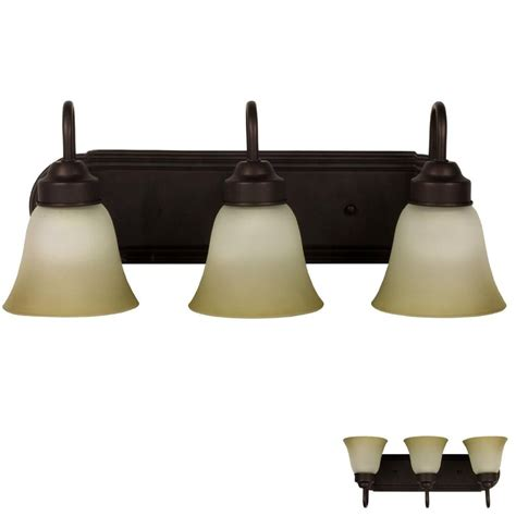 Three Light Bathroom Fixture by Rubbed Bronze Three Globe Bathroom Vanity Light Bar