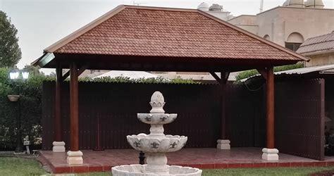 stunning shingle roof gazebo  deck  dubai
