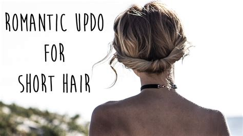 bohemian updo  short hair easy chignon youtube