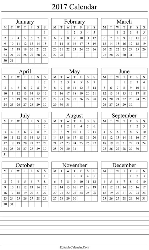 yearly calendar template 2017 yearly calendar 2017 printable template