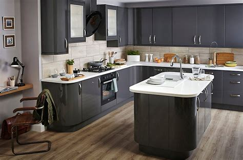 Kitchen Ideas B And Q by It Santini Gloss Anthracite Slab Diy At B Q New House