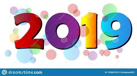 Happy New Year 2019 Colorful Greeting Bubble Design Stock
