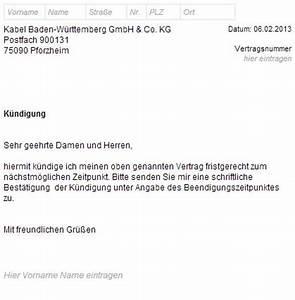 Außerordentliche Kündigung Mietvertrag : kabel bw k ndigungsschreiben zum download ~ Lizthompson.info Haus und Dekorationen