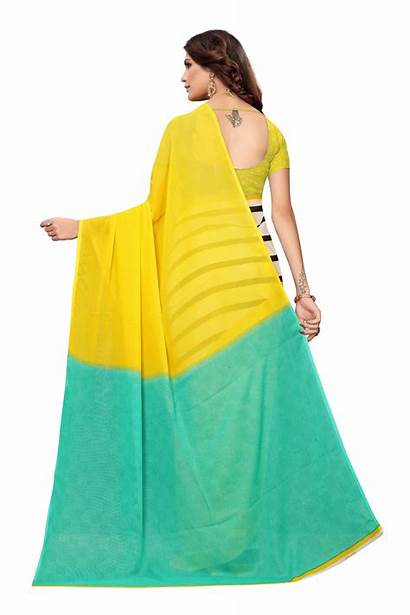 Saree Yellow Printed Wear Daily Georgette Woman