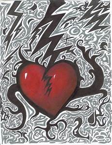 Drawn broken heart abstract art - Pencil and in color ...