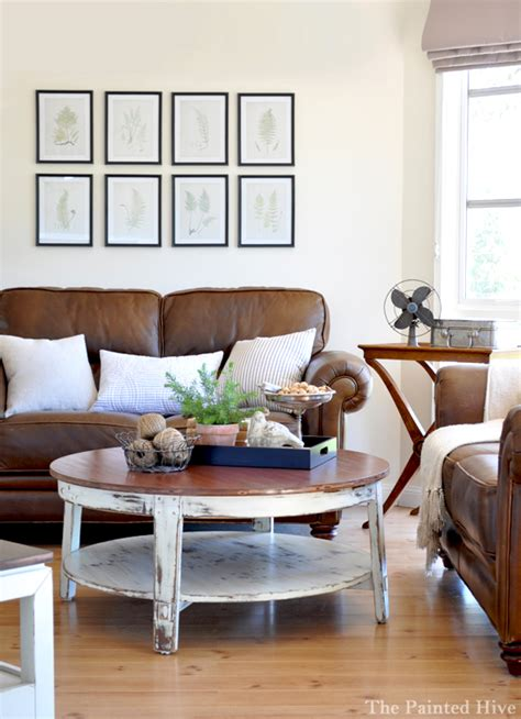Light Brown Leather Sofa Living Room Ideas by The Painted Hive Living Room Update