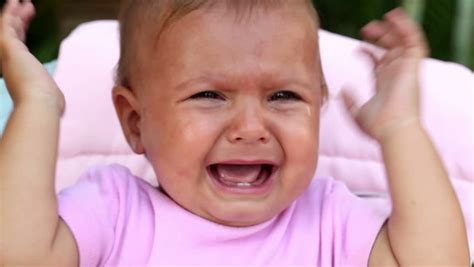 face  unhappy baby girl crying stock footage video