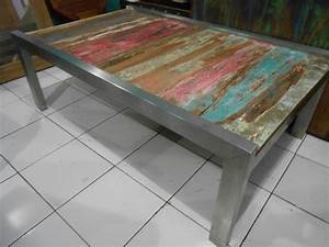 coffee tables boat wood furniture mix stainless steel With beach look coffee table