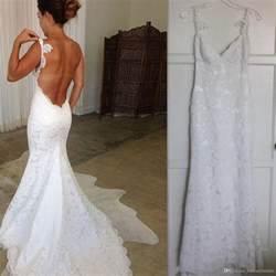 2017 Beach White Lace Backless Wedding Dresses Mermaid