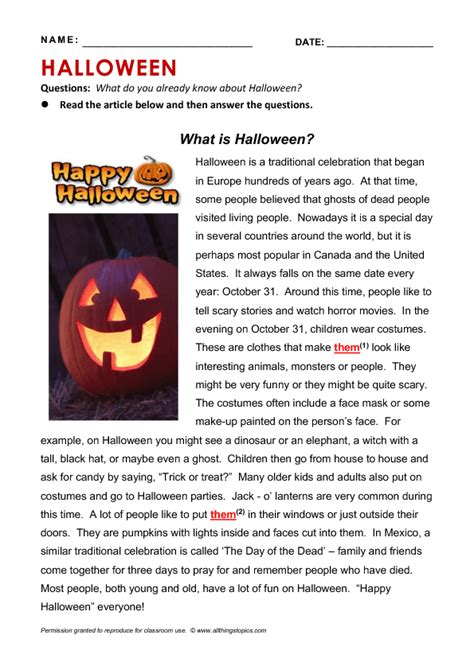 halloween reading grammar practice