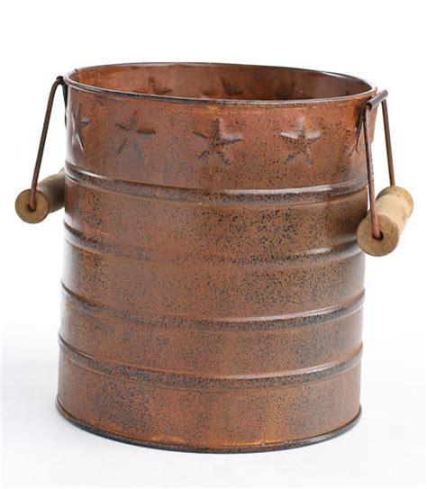 Primitive Embossed Rustic Tin Bucket Baskets Buckets