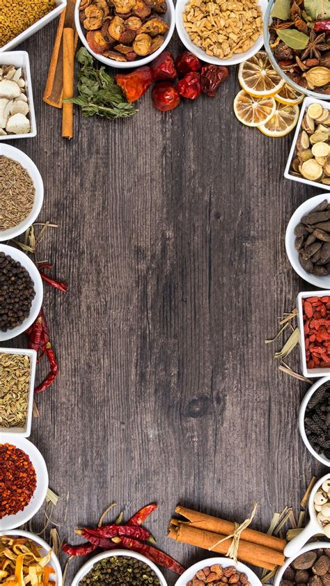 wood background shading spices  food menu design food
