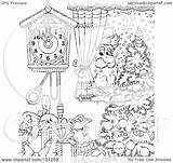 Coloring Outline Santa Window Royalty Peeking Tree Clipart Illustration Bannykh Alex Rf Copyright sketch template