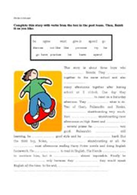 english worksheets  simple story skating