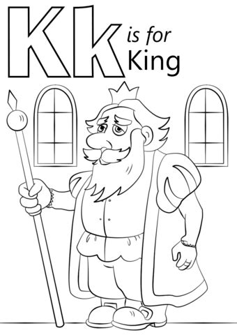 Letter K is for King coloring page from Letter K category