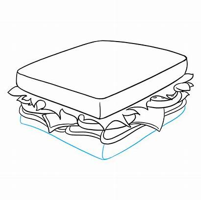 Sandwich Draw Drawing Easy Outline Lines Meat