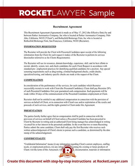 recruitment contract template recruiter agreement recruitment contract agreement