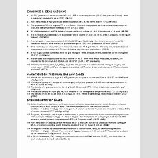 Combined & Ideal Gas Laws Worksheet For 12th  Higher Ed  Lesson Planet